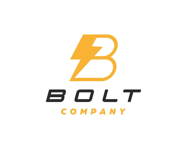 Lettera b con modello di progettazione di logo di simbolo di bullone.