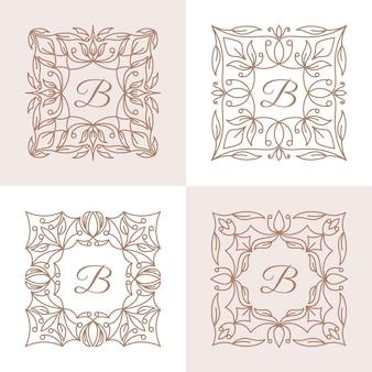 Lettera b con modello di logo cornice floreale