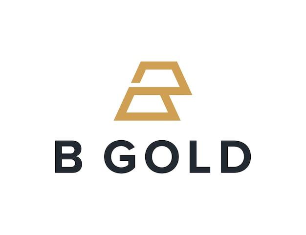 Lettera b con lingotto d'oro semplice elegante design geometrico creativo moderno logo