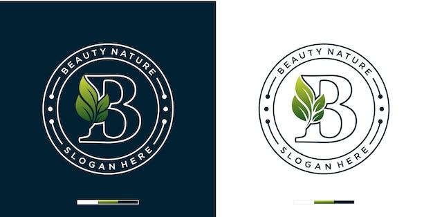 Lettera b con modello di logo di bellezza naturale di lusso