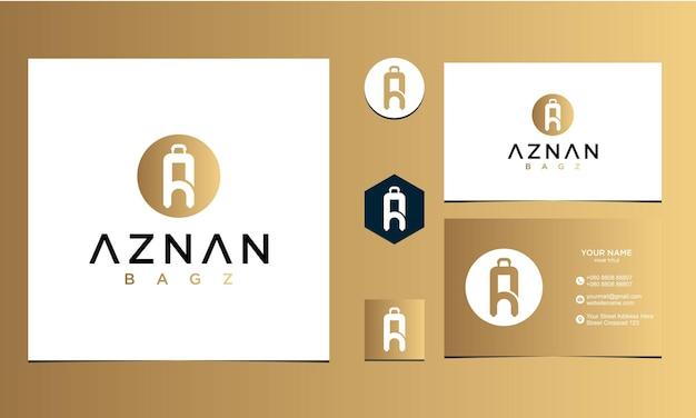 Lettera a borsa ispirazione per il design dell'icona per azienda e biglietto da visita vettore premium
