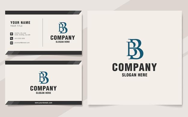 Modello di logo della lettera bb sullo stile del monogramma