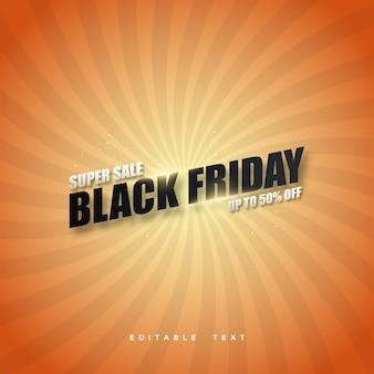 Lettera super vendita venerdì nero con sfondo arancione.