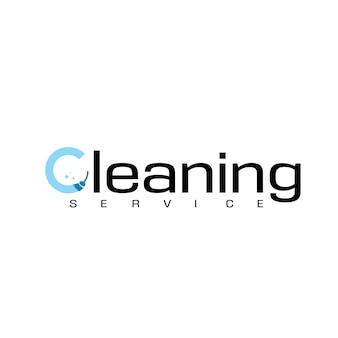 Logo di tipografia del servizio di pulizia della lettera c