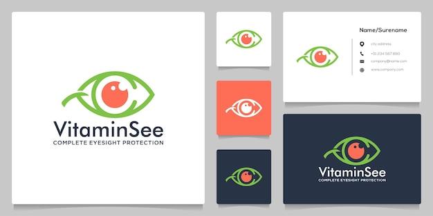 Lettera c eye leaf nutrition logo design con stile di linea