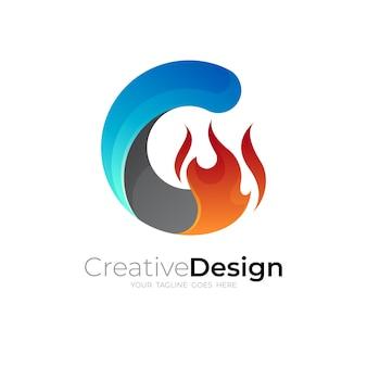 Lettera c nell'icona della fiamma del fuoco, 3d colorato