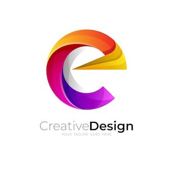 Logo della lettera c e stile colorato, loghi 3d