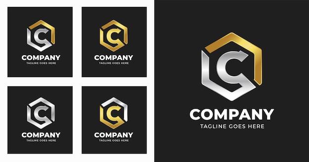 Modello di progettazione del logo della lettera c con stile di forma geometrica