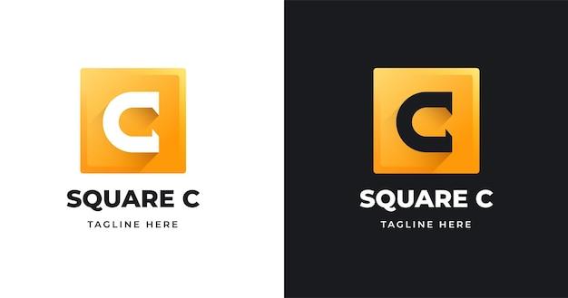 Modello di progettazione del logo della lettera c con stile di forma quadrata