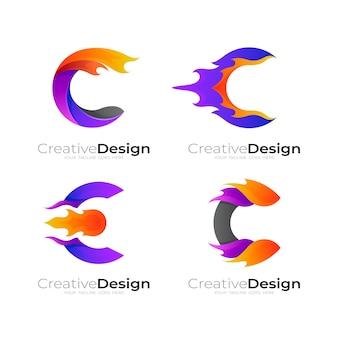 Logo della lettera c e modello di progettazione del fuoco