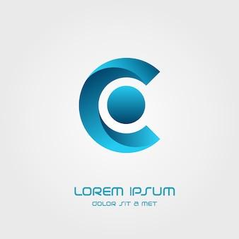 Elementi del modello di disegno di icona di marchio di lettera c.