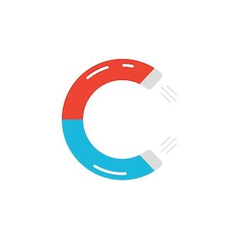 Logo della lettera c come icona del magnete. concetto di magnetismo naturale, tipo unico, forza attrattiva, campo elettrico. isolato su sfondo bianco. stile piatto tendenza moderna c loghi design illustrazione vettoriale