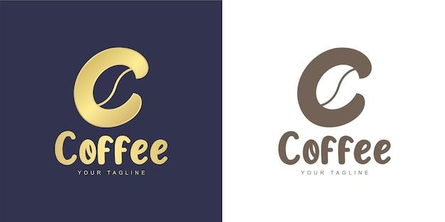 Marchio della lettera c con l'icona del chicco di caffè