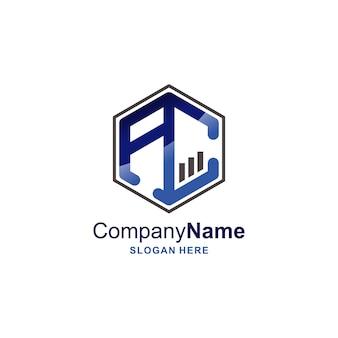 Logo della lettera ac con design del modello dell'icona della forma del simbolo di stile finanziario