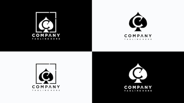 Vettore di progettazione del logo del poker della lettera c vettore premium