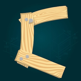 Lettera c - carattere vettoriale stilizzato realizzato con assi di legno martellate con chiodi di ferro.