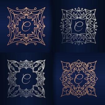 Lettera c con modello di logo cornice floreale