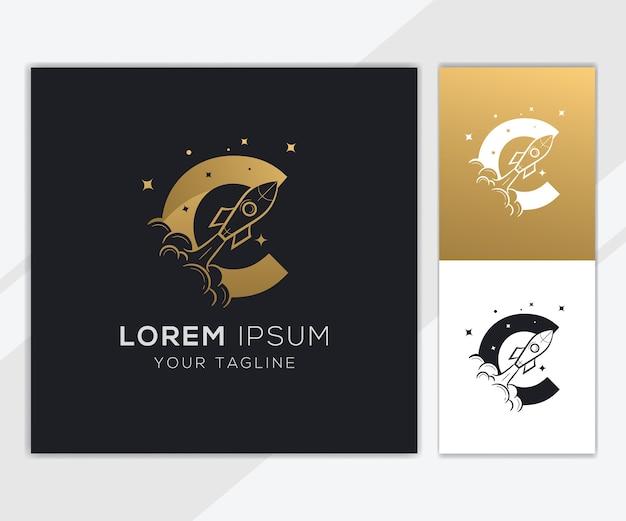 Lettera c con modello di logo di lusso astratto razzo