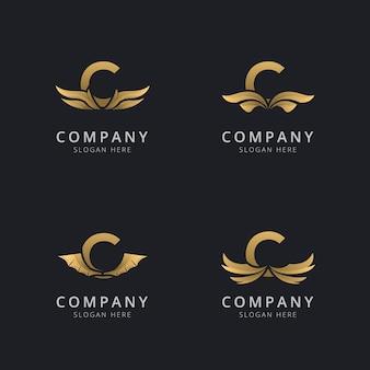 Lettera c con modello di logo di lusso ala astratta