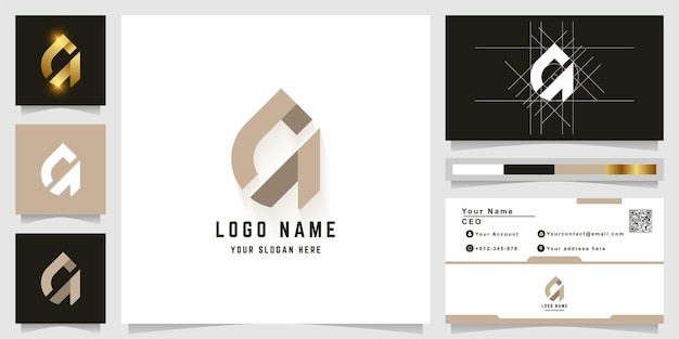 Logo monogramma lettera a o ca con design biglietto da visita
