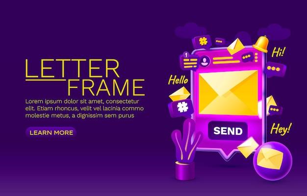 Lettera chat smartphone tecnologia schermo mobile display mobile vettore
