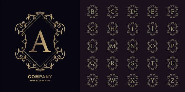 Lettera a o alfabeto iniziale di raccolta con modello di logo dorato cornice floreale ornamento di lusso.