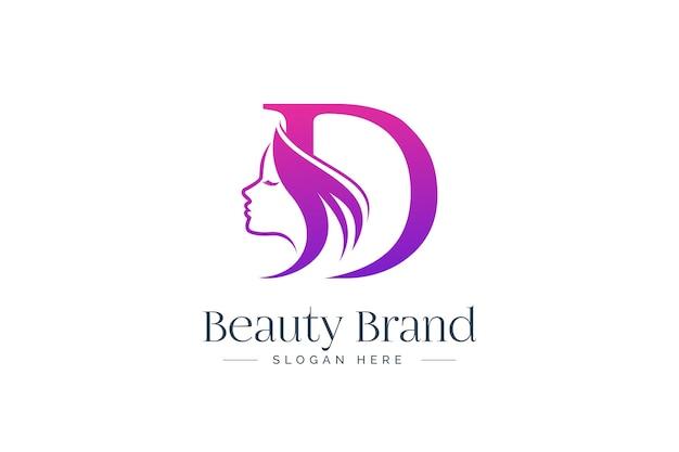 Design del logo di bellezza della lettera d. siluetta del fronte della donna isolata sulla lettera d.