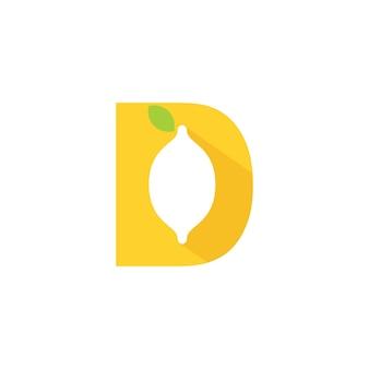 Lettera d lime logo con silhouette lime simbolo sulla d iniziale