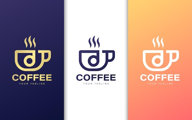 Marchio della lettera d in tazza di caffè. concetto di logo moderno coffee shop