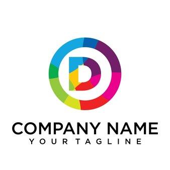 Modello di progettazione del logo della lettera d. segno creativo foderato colorato