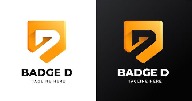 Modello di progettazione del logo della lettera d con stile a forma di badge