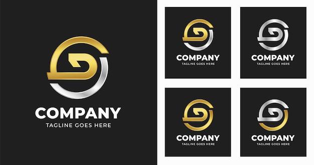 Modello di progettazione del logo della lettera d con stile a forma di cerchio