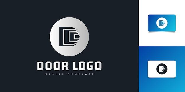 Lettera d logo design con concetto di porta. simbolo d per la tua azienda e identità aziendale
