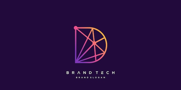 Modello di logo della lettera d per azienda tecnologica vettore premium parte 1