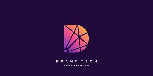 Modello di logo della lettera d per azienda tecnologica vettore premium parte 5