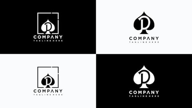 Lettera d poker logo design vettore vettore premium