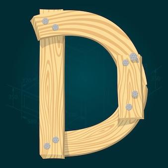Lettera d - carattere vettoriale stilizzato realizzato con assi di legno martellate con chiodi di ferro.