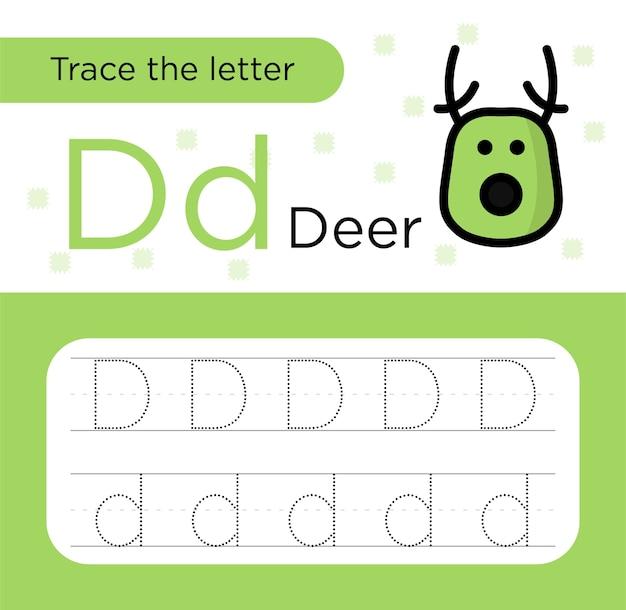 Tracciamento della lettera d per bambini
