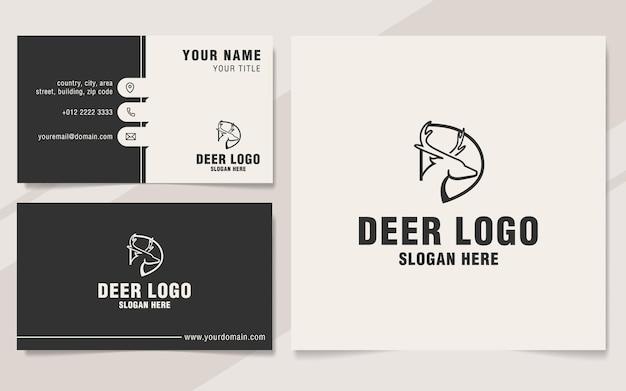 Lettera d con modello logo cervo in stile monogramma