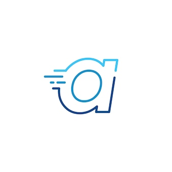 Una lettera trattino minuscolo tecnologia digitale veloce consegna rapida movimento linea contorno monolinea logo blu icona vettore illustrazione