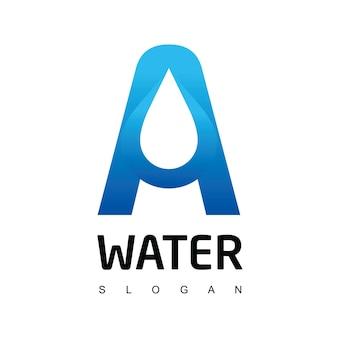 Modello di logo lettera una goccia d'acqua