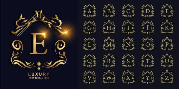 Lettera e o alfabeto iniziale di raccolta con modello di logo dorato cornice floreale ornamento di lusso.