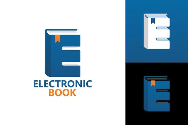 Lettera e, modello di logo del libro elettronico premium vector