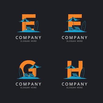 Lettera efg e h con modello di logo astratto spiaggia