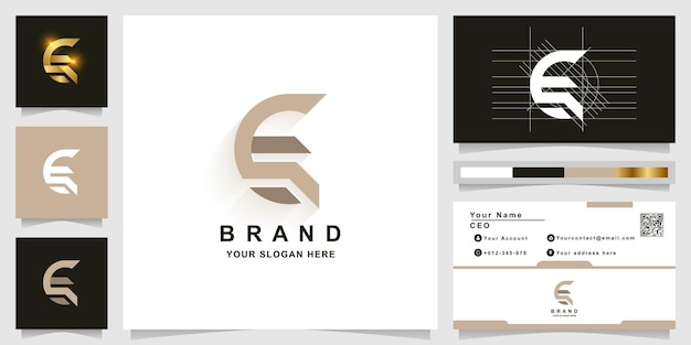 Modello di logo monogramma lettera e o g con design biglietto da visita