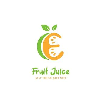 Modello dell'icona del logo del succo di frutta arancione lime lettera e