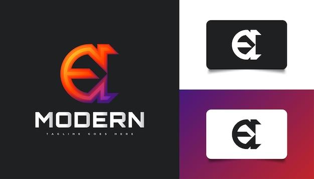 Lettera e logo design nel concetto colorato e moderno. simbolo grafico dell'alfabeto per l'identità aziendale aziendale