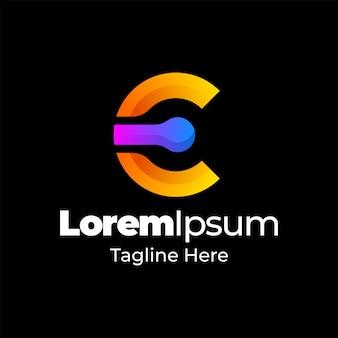 Gradiente icona lettera e logo