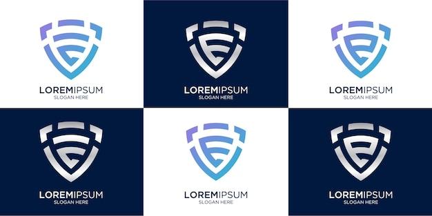 Lettera e monogramma e combinazione di segno scudo