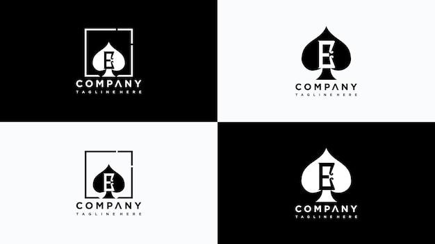 Lettera e poker logo design vettore vettore premium